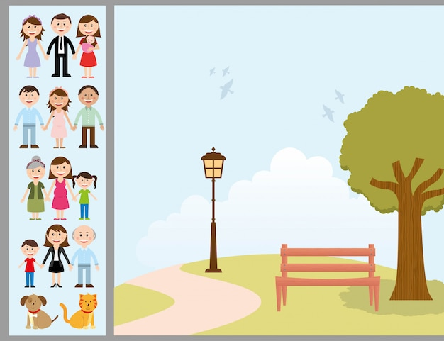 Семейный дизайн на фоне ландшафта векторные иллюстрации