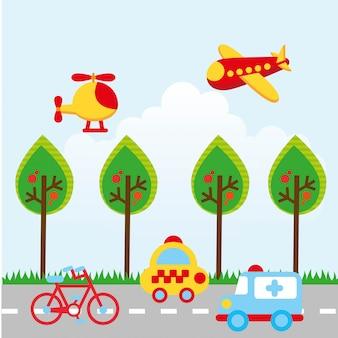 Дизайн транспорта на фоне неба векторные иллюстрации