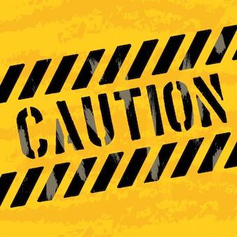 Дизайн осторожность на желтом фоне векторных иллюстраций