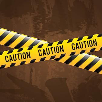 Дизайн осторожность на коричневом фоне векторные иллюстрации
