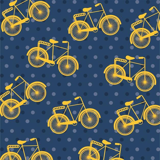 点線の背景上の自転車デザイン