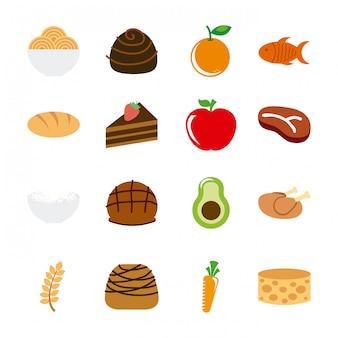 白い背景の上の健康食品ベクトルイラスト