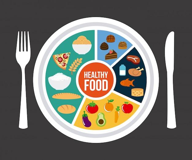 Здоровое питание на сером фоне векторных иллюстраций