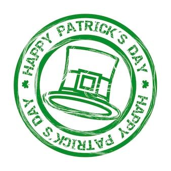 帽子とクローバーのベクトル図とパトリックの日イラスト