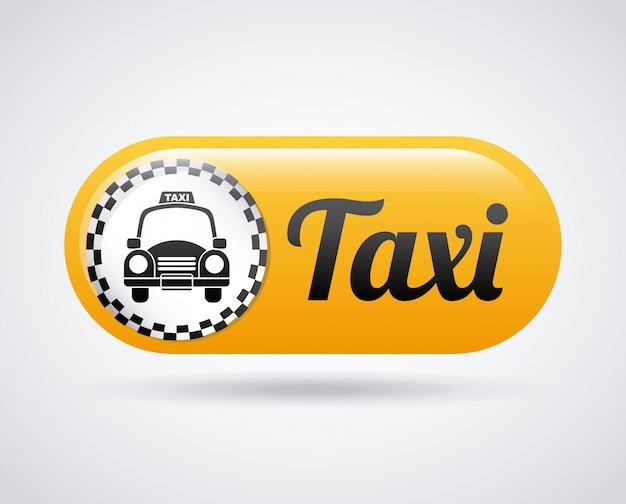 白い背景ベクトルイラスト上のタクシーのデザイン
