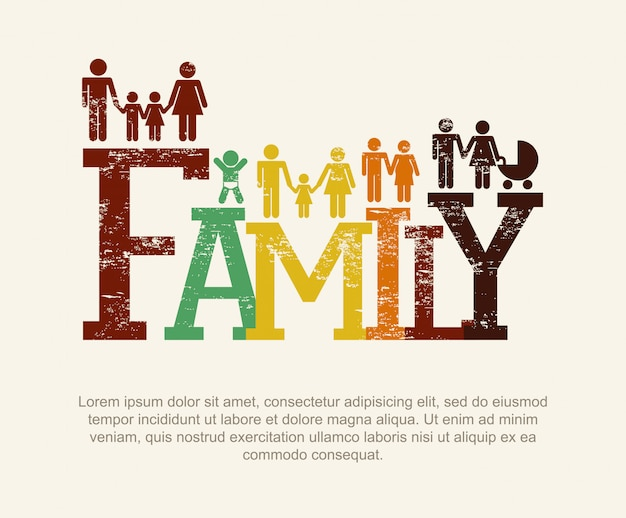 ベージュ色の背景ベクトルイラスト上の家族のデザイン