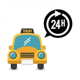 白い背景の上のタクシーデザインベクトルイラスト