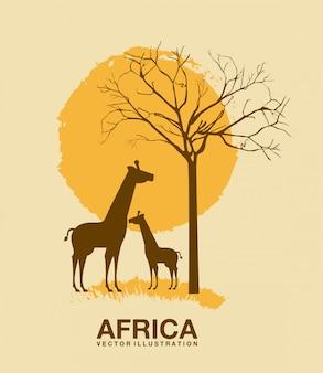 ベージュ色の背景ベクトルイラスト上のアフリカのデザイン