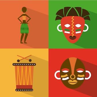 カラフルな背景のベクトル図の上のアフリカのデザイン