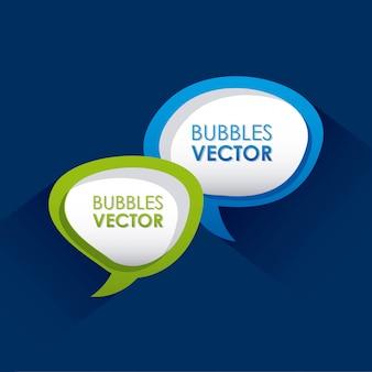 青い背景のベクトル図の上の泡デザイン
