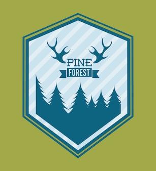 緑の背景のベクトル図の上の森林設計