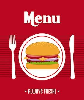 赤い背景のベクトル図の上のメニューデザイン