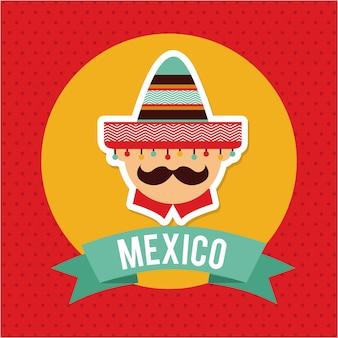 赤い背景のベクトル図の上のメキシコデザイン