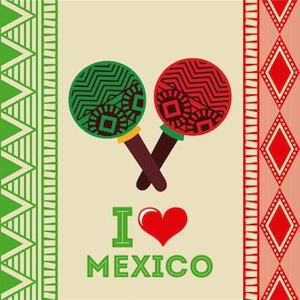 ベージュ色の背景ベクトルイラストメキシコデザイン