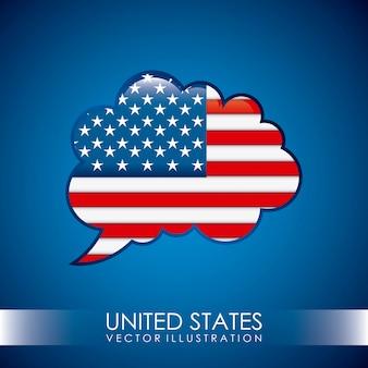 青い背景上のアメリカのデザインベクトルイラスト