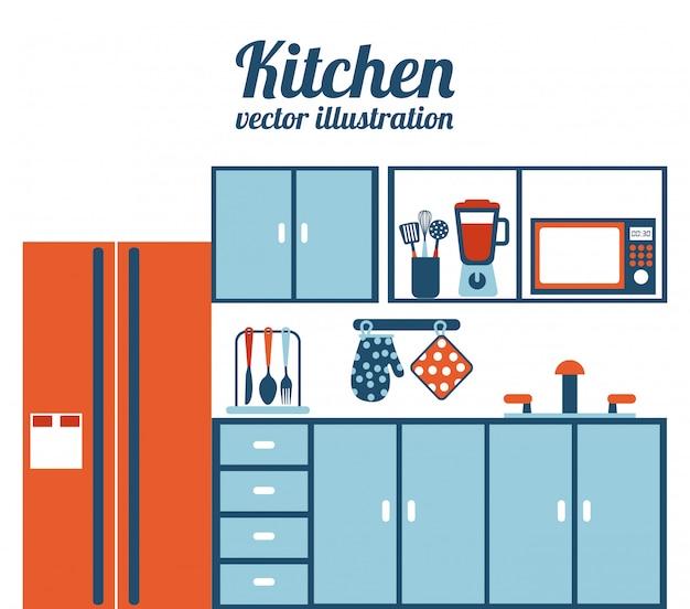 白い背景ベクトルイラストキッチンデザイン