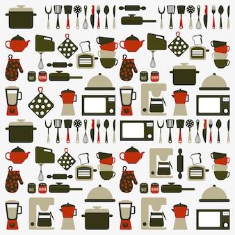 Дизайн кухни на белом фоне векторные иллюстрации