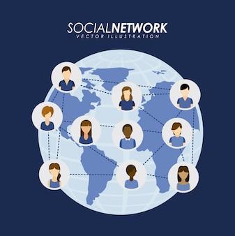 Дизайн социальной сети на синем фоне векторных иллюстраций