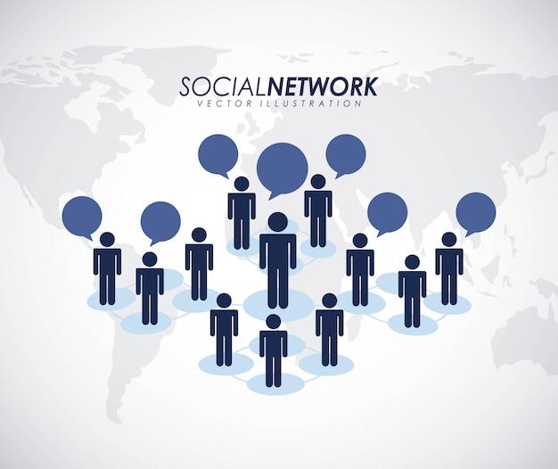灰色の背景上のソーシャルネットワークデザインベクトルイラスト