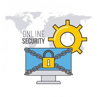Значки плоской линии безопасности онлайн