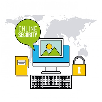 オンラインセキュリティの平らな線アイコン