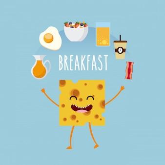 美味しくて栄養豊富な朝食の文字