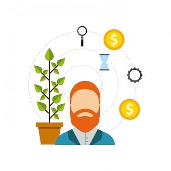 ビジネス成長資金フラットアイコン