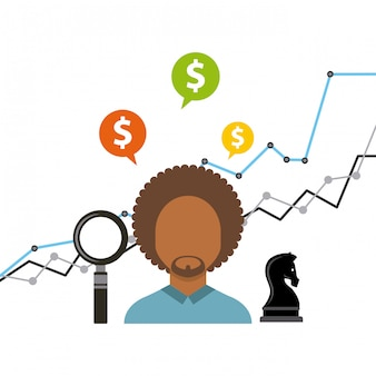 Бизнес рост фонды плоские иконки