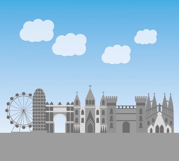 有名なランドマークとバルセロナ建築スカイライン都市景観