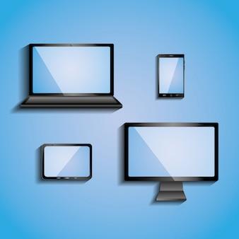 空白の画面を持つ電子機器コンピューターモニタースマートフォンタブレットとラップトップ