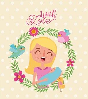 恋人と笑顔の母と赤ちゃんの花輪の花鳥