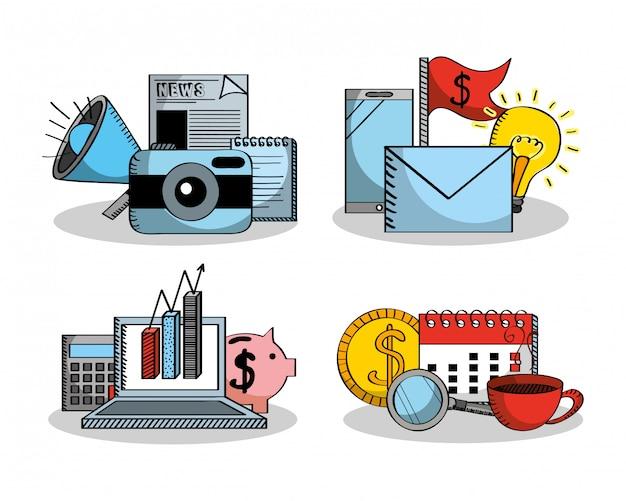 ビジネス要素金融お金統計のセット