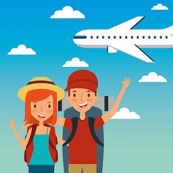旅行者幸せな若いカップルと飛行機が飛んで