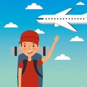 Отпуск путешественника молодого человека с рюкзаком и небом самолета мухы