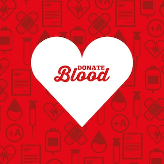 Белый силуэт сердца сдавать кровь фон медицинские иконки