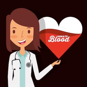 Доктор женский персонаж с сердцем сдавать кровь