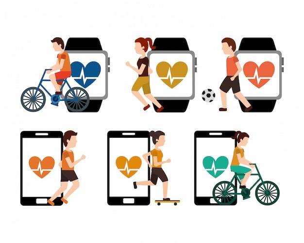 スマートフォンの心を持つコレクション人スポーツ