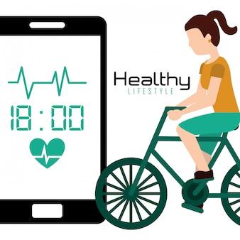 スポーツ女性乗馬自転車モバイルアプリ健康的なライフスタイル