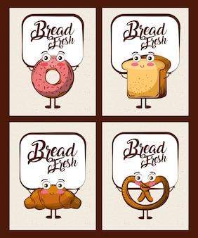 かわいいパンの新鮮な漫画のセット