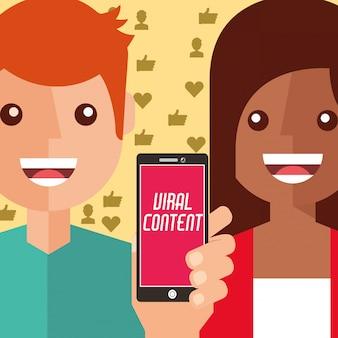 男と女のスマートフォンバイラルコンテンツ