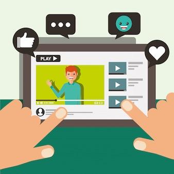Рука трогательно экран мобильного блоггера человек видео вирусный контент