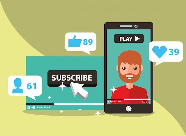 Смартфон с человеком на экране подписаться на популярный канал