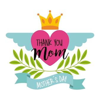 ピンクの心の翼の王冠の母の日のお祝い