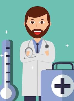 Доктор сложил руки стетоскоп и термометр