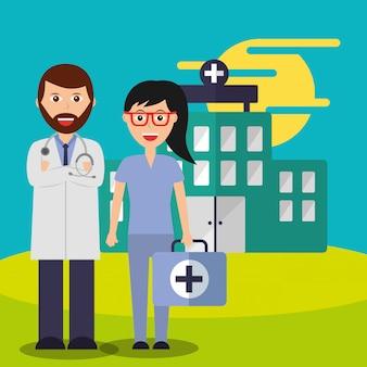 医師と看護師のスーツケーススタッフ医療チーム病院