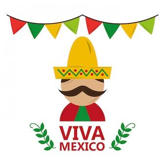 伝統的な服の帽子と口ひげを着てビバメキシコ男
