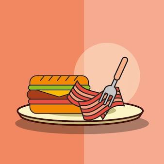 ファーストフードのハンバーガーとベーコンの皿にフォークを