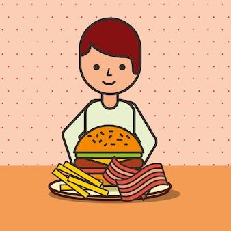 Мультфильм мальчик ест гамбургер с беконом и картофелем фри