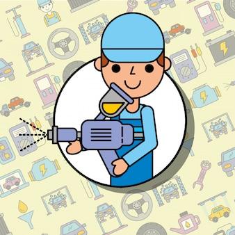 塗装スプレーツール車サービスメンテナンスを保持している労働者