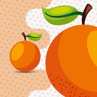 ドットの背景に新鮮なフルーツナチュラルオレンジ